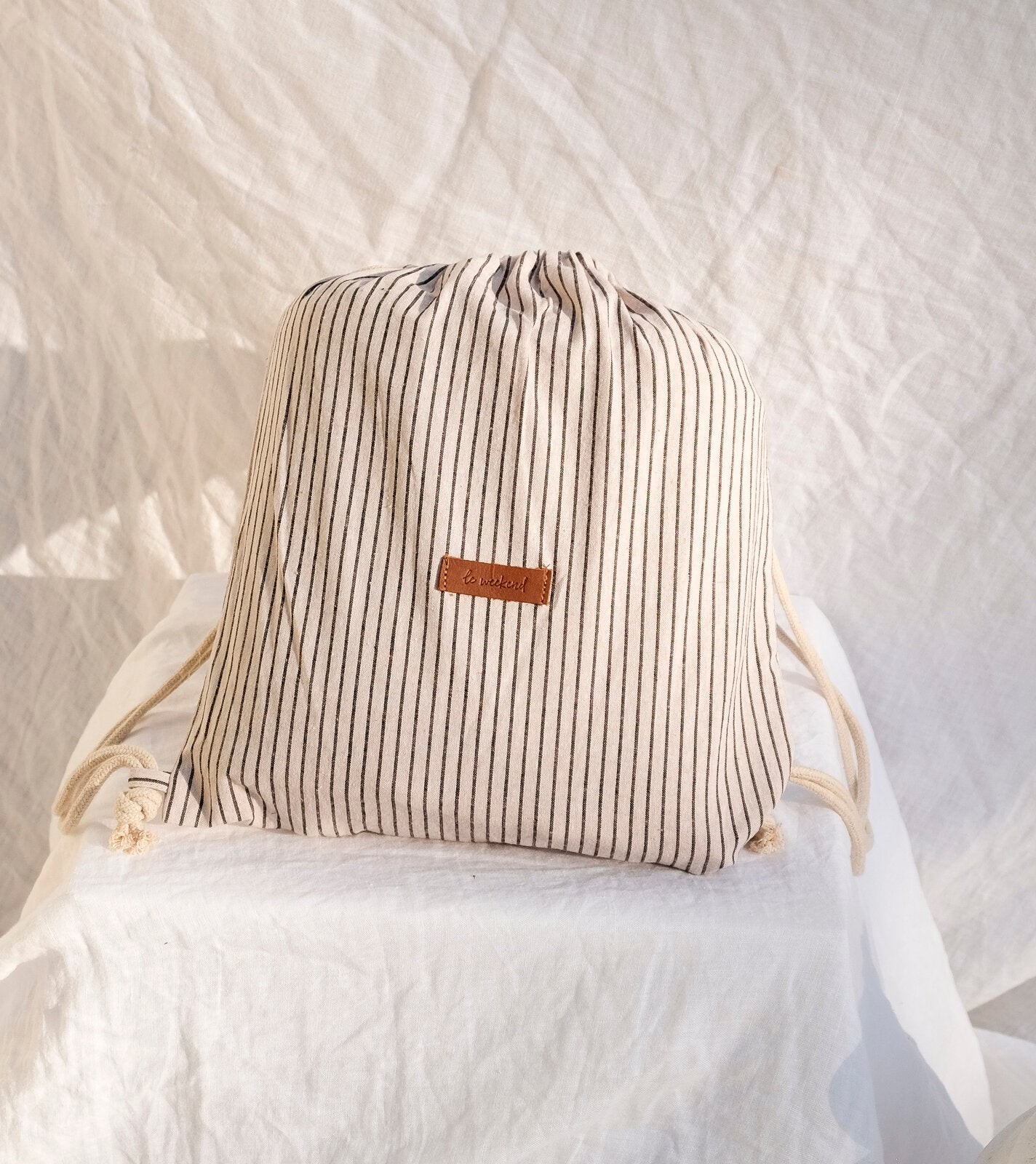 FRENCH PINSTRIPE LINEN PICNIC RUG