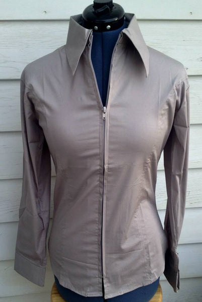 Ladies Zip Up Fitted Show Shirt - Silver