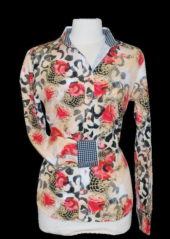 A Printed Fitted Button Down - Rose & Leopard