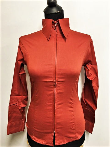 Ladies Zip Up Fitted Show Shirt - Rust