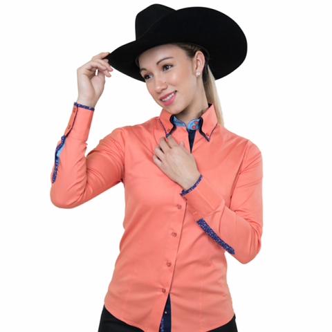 Ladies Button Down Fitted Show Shirt - Peach