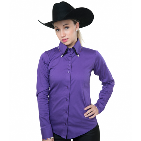 Ladies Button Down Fitted Show Shirt - Purple