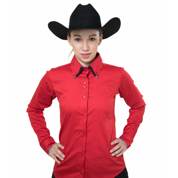 Ladies Button Down Fitted Show Shirt - Red