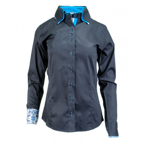 Ladies Button Down Fitted Show Shirt - Black