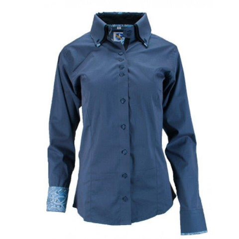Ladies Button Down Fitted Show Shirt - Charcoal