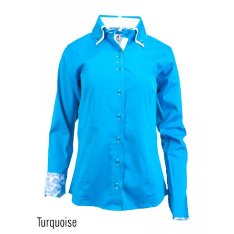 Ladies Button Down Fitted Show Shirt - Turquoise
