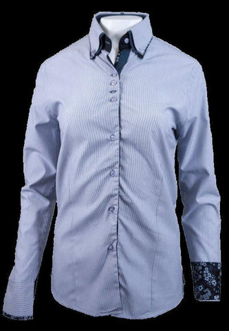 Ladies White/Blue Pinstripe Button Up