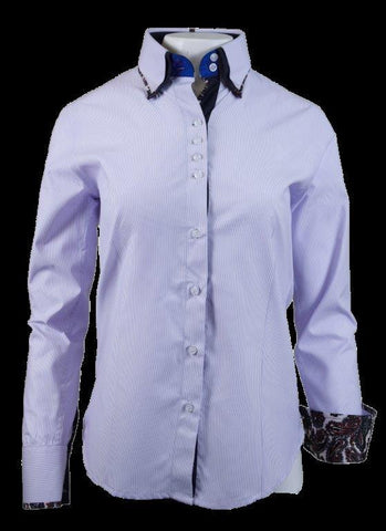Ladies White/Purple Pinstripe Button Up