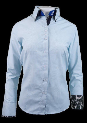 Ladies White/Teal Pinstripe Button Up