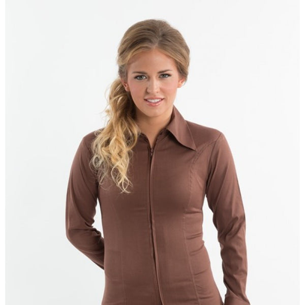 Ladies Zip Up Fitted Show Shirt - Brown