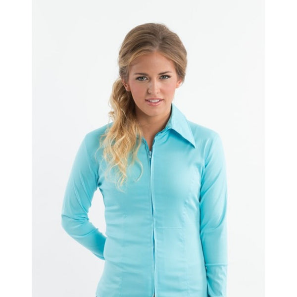 Ladies Zip Up Fitted Show Shirt - Aqua