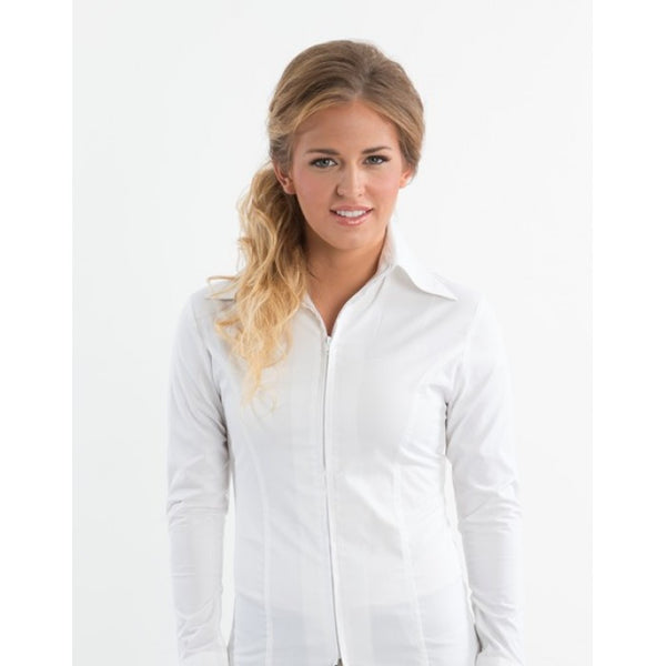 Ladies Zip Up Fitted Show Shirt - White