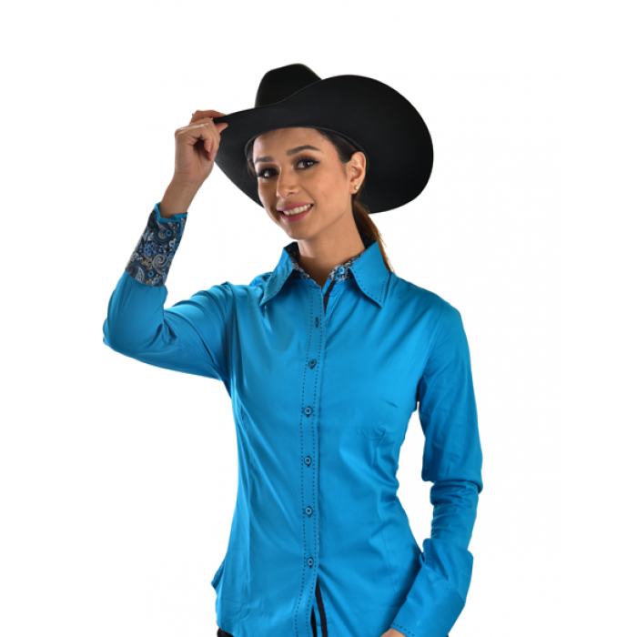 Buck-stitch Ladies Button Up Shirt -Turquoise