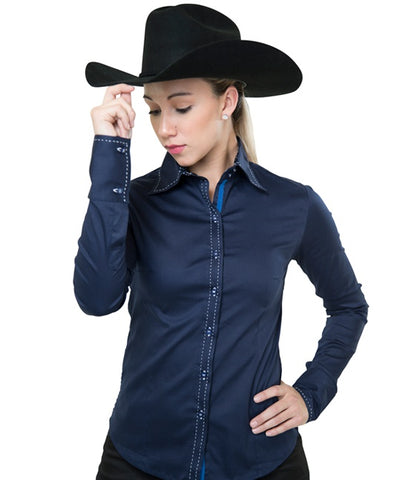 Buck-stitch Ladies Button Up Shirt -Navy/White