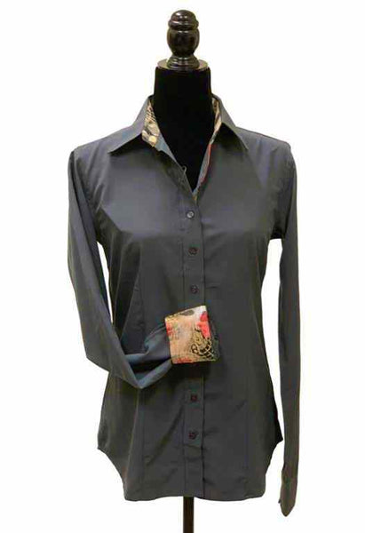 Ladies Button Up Shirt With Accent Collar & Cuffs - Grey