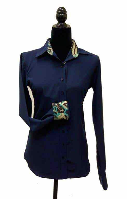 Ladies Button Up Shirt With Accent Collar & Cuffs - Navy
