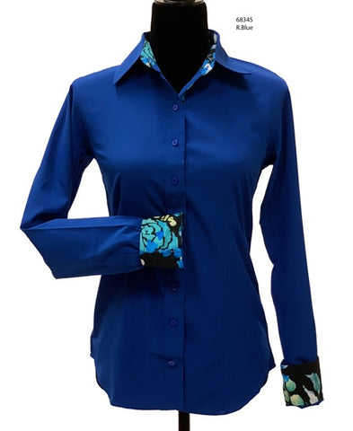 Ladies Button Up Shirt With Accent Collar & Cuffs - Royal Blue