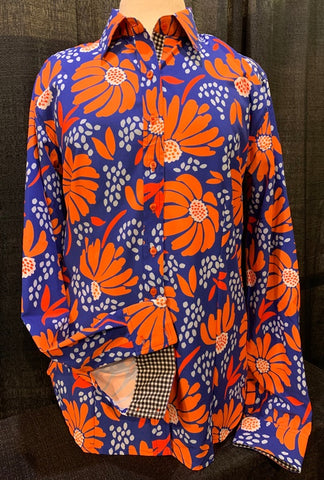 A Printed Fitted Button Down - Orange/Blue Floral