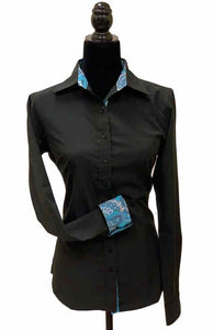 Ladies Button Up Shirt With Accent Collar & Cuffs - Black
