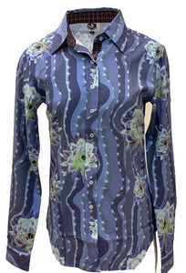 A Printed Fitted Button Down - Cactus Flower