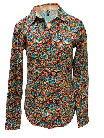 A Printed Fitted Button Down - Western Print