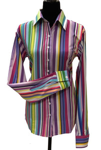 A Printed Fitted Button Down - Pastel Stripes