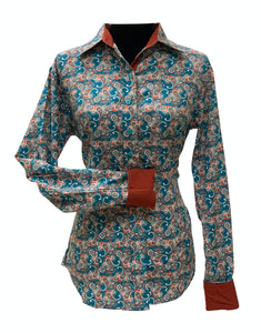 A Printed Fitted Button Down - Turquoise/Rust Paisley