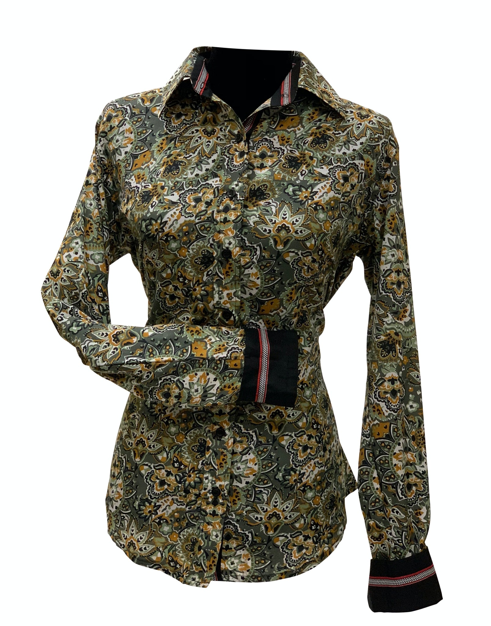 A Printed Fitted Button Down - Olive Floral