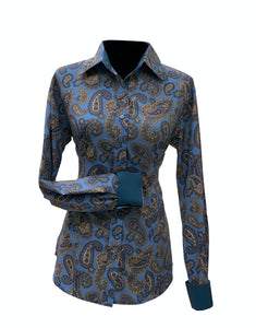 A Printed Fitted Button Down - Niagara Blue Paisley