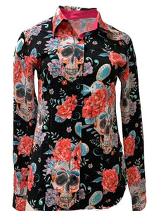 A Printed Fitted Button Down - Black Sugar Skulls