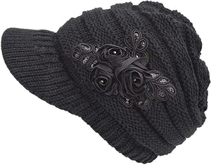 Knit Winter Hat With Floral Detail