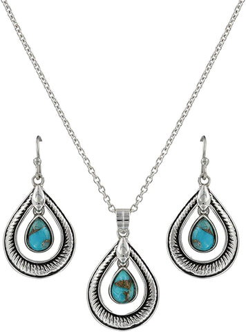 Montana Silversmith Hitched Turquoise Teardrop Jewelry Set