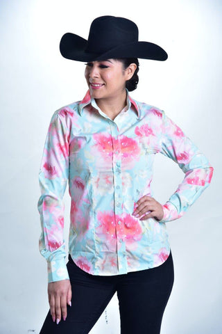 A Printed Fitted Button Down - Aqua & Pink