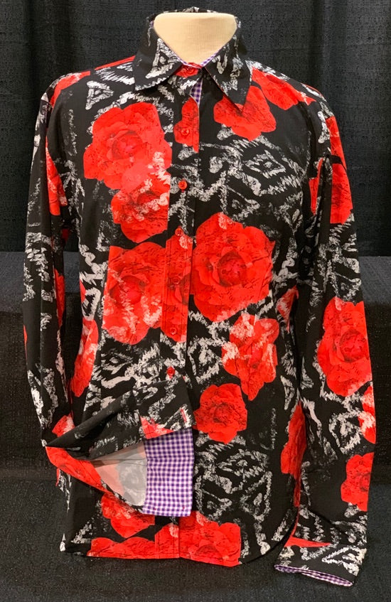 A Printed Fitted Button Down - Red Roses