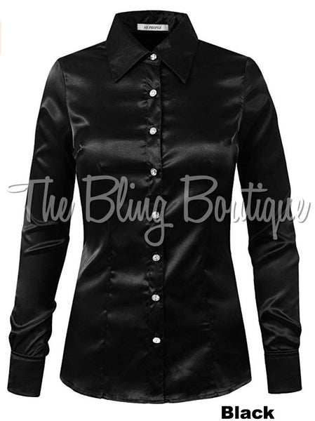 (Multiple Colors Available) Satin Button Down Shirt