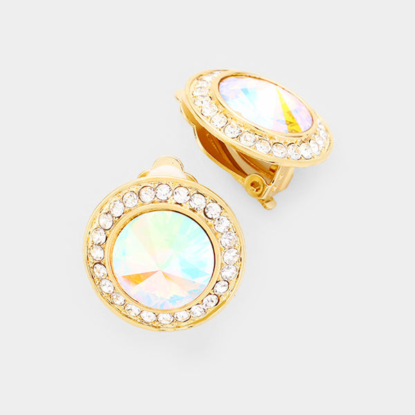 Clip On Round Crystal Earrings (Multiple Colors Available)