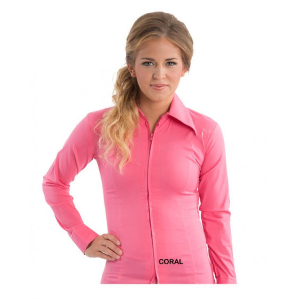 Ladies Zip Up Fitted Show Shirt - Coral