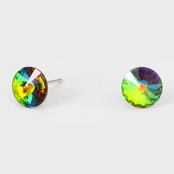 Round Crystal Earrings (Multiple Colors Available)