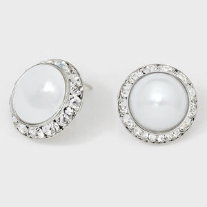 White Pearl & Crystal Stud Earrings