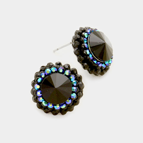 Round Crystal Burst Earrings (Multiple Colors Available)