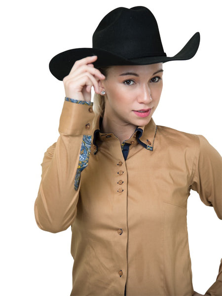 Ladies Button Down Fitted Show Shirt - Dusty Beige