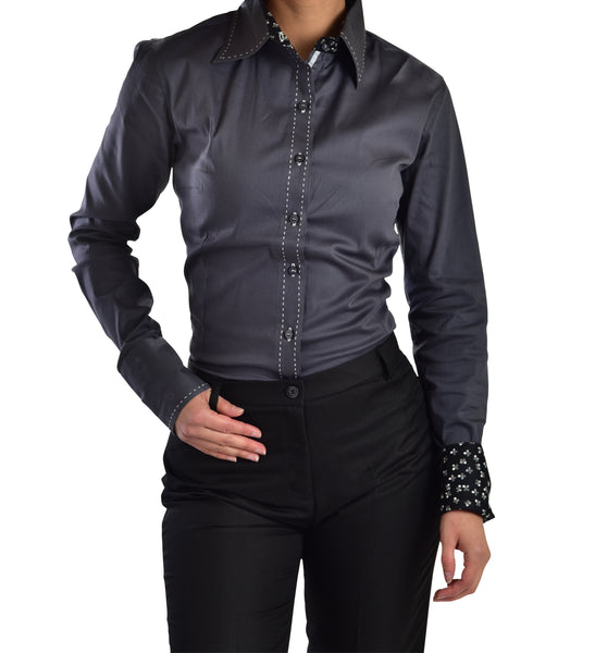 Buck-stitch Ladies Button Up Shirt - Charcoal