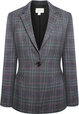 Grey & Green Plaid Blazer