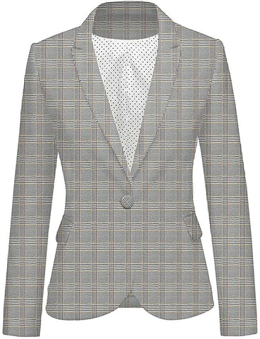 Grey Plaid Show Blazer