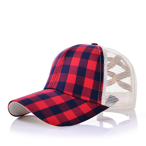 Red Buffalo Plaid Pony Tail Hat