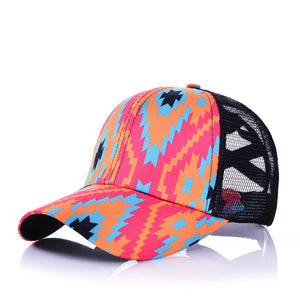 Pink, Turquoise & Orange Aztec Print Pony Tail Hat