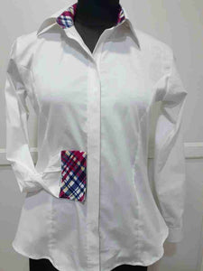 White Hidden Zipper Pattern Collar Shirt