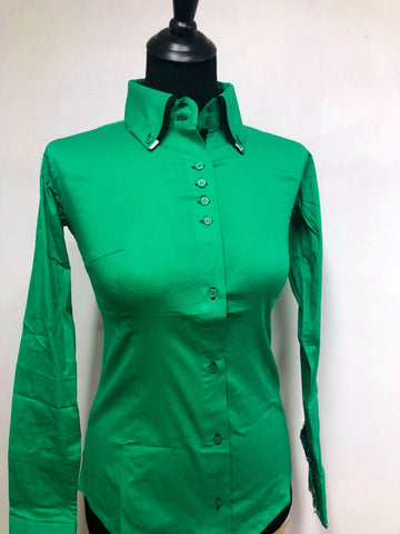 Ladies Button Down Fitted Show Shirt - Kelly Green