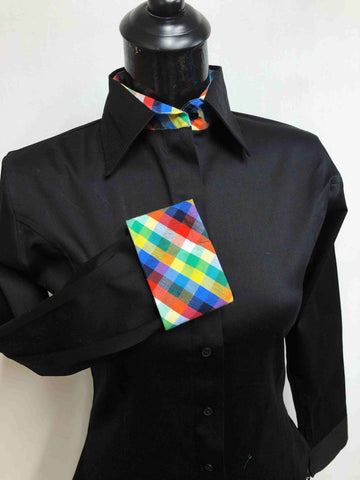 Black Hidden Zipper Pattern Collar Shirt