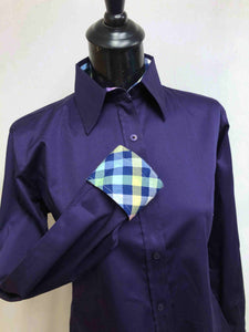 Plum Hidden Zipper Pattern Collar Shirt